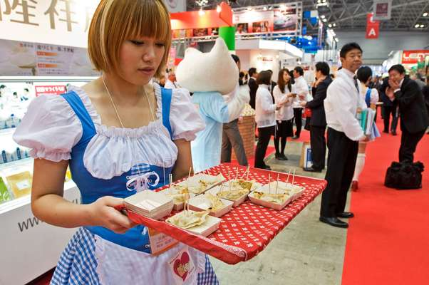 Food producers from every region of Japan hand out samples