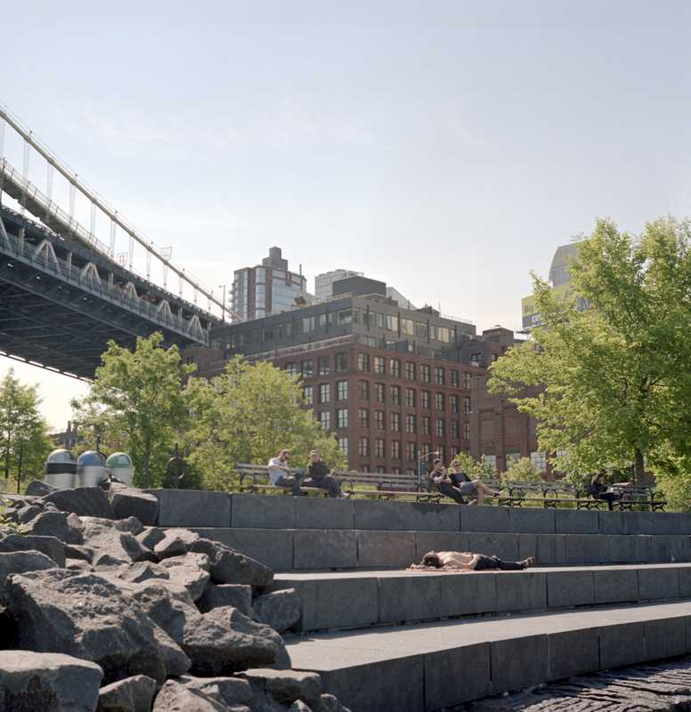 Stone terraces at Brooklyn Bridge Park