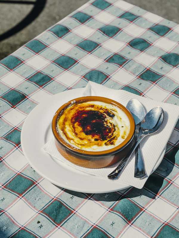 La Tortuga's flambé rice pudding