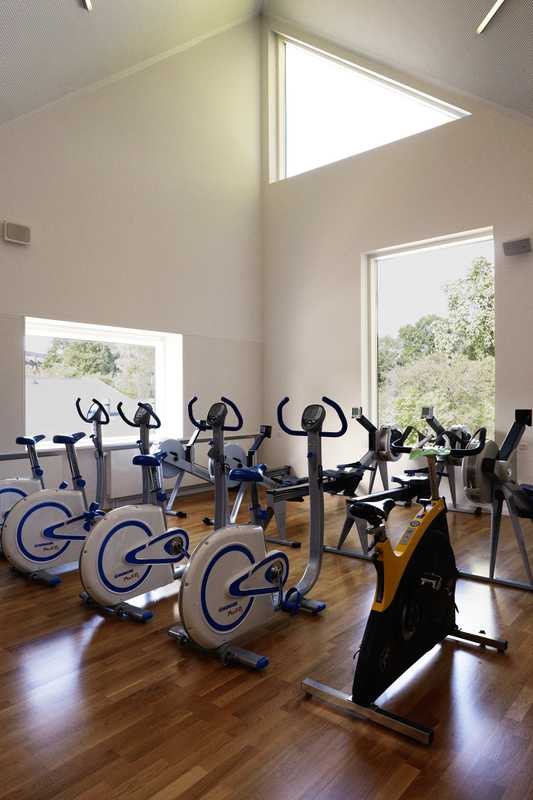 First-floor gym with training equipment