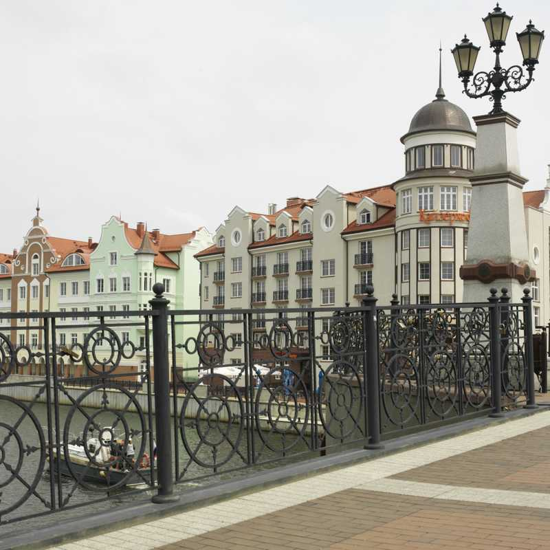New hotels on the river front in central Kaliningrad