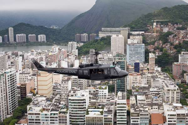 The UH-1H on recon flight over the Copacabana district