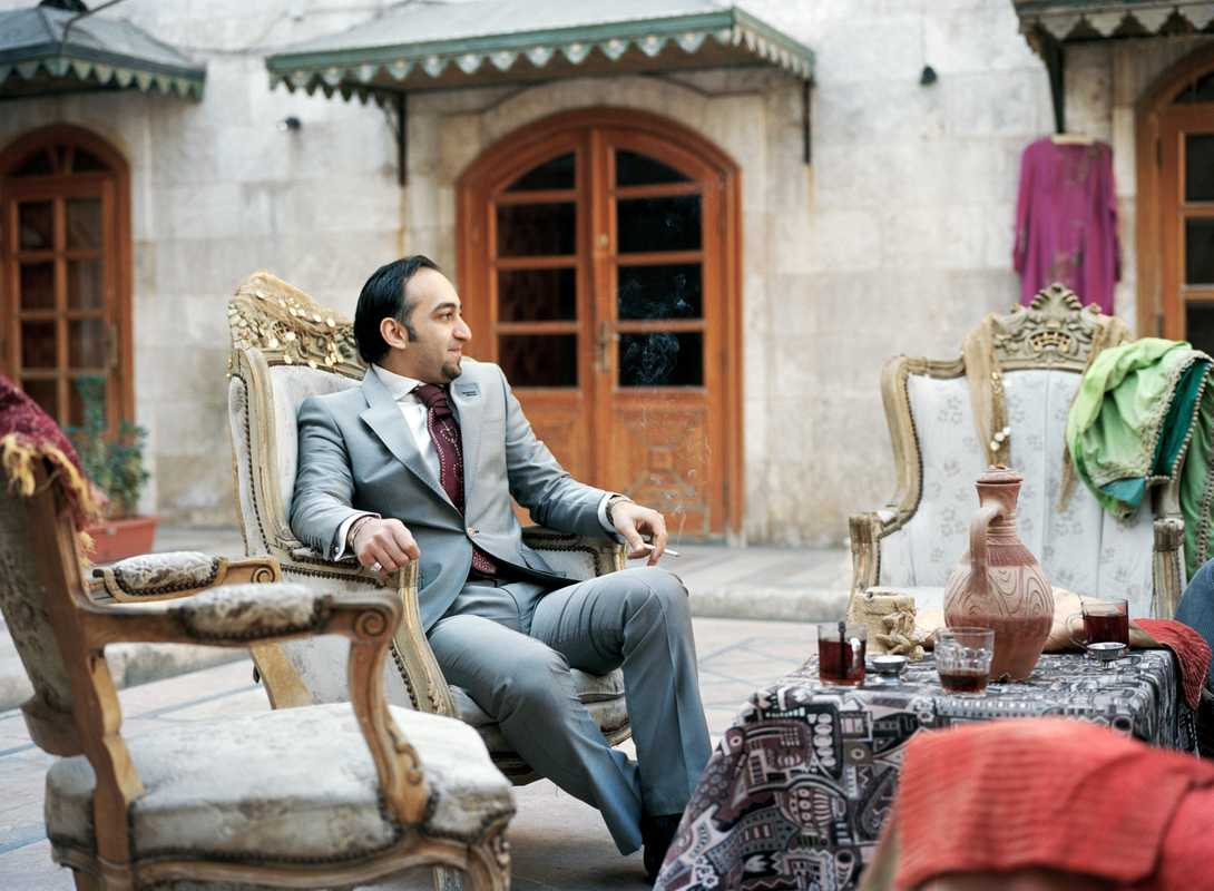 Mazen Salah, designer and owner of a textile store next to the souk