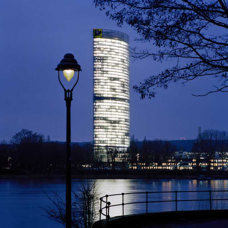 The Post Tower, which has glass elevators