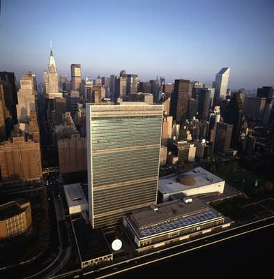 Aerial view of the UN HQ in New York