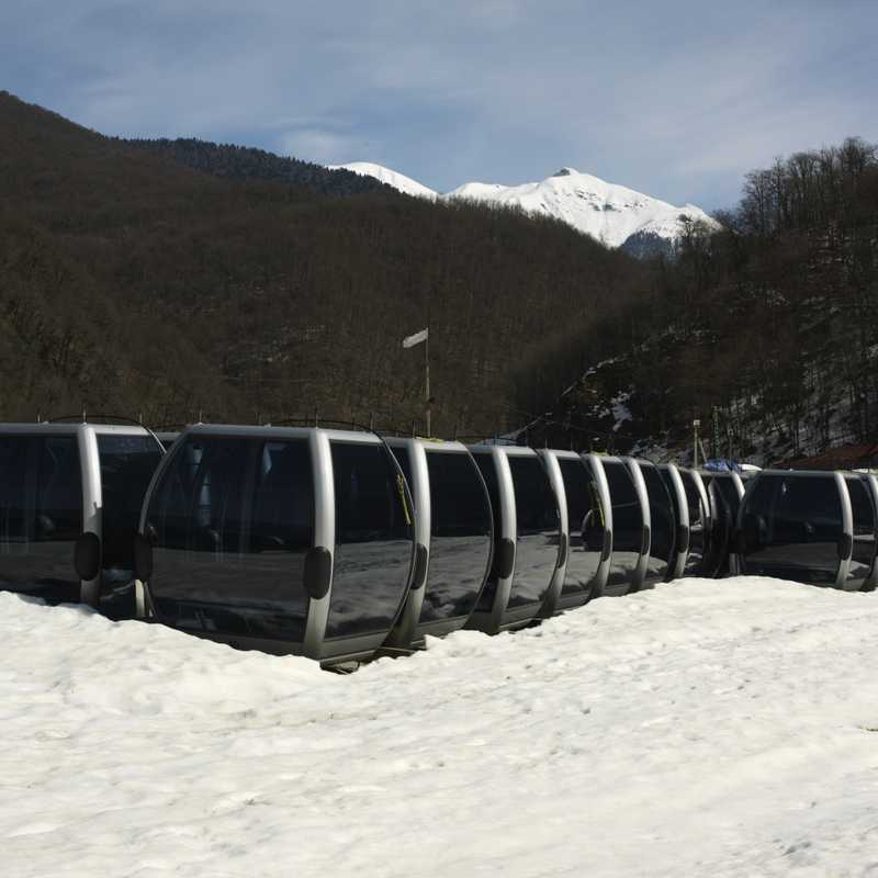 Cable car cabins in storage at the Rosa Khutor resort's construction site