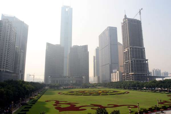 Skyscrapers in Guangzhou's financial district