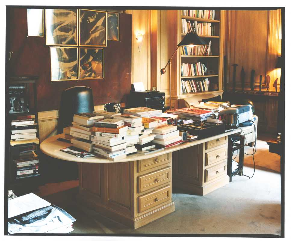 Writing desk in the wood-panelled office