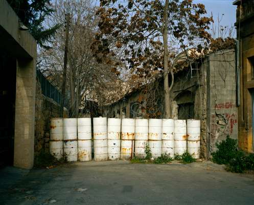 Sand-filled barrels block  off Ledra Street in the UN buffer zone