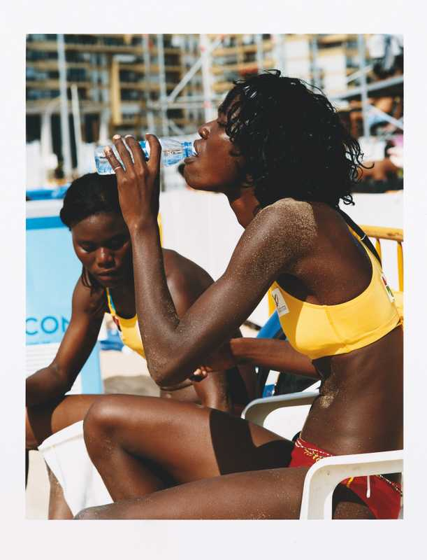Angolan beach volley ball players Marlene Costa and Sara Kunga
