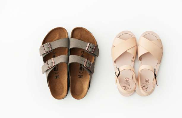 Sandals by Birkenstock (left) and Levit 02