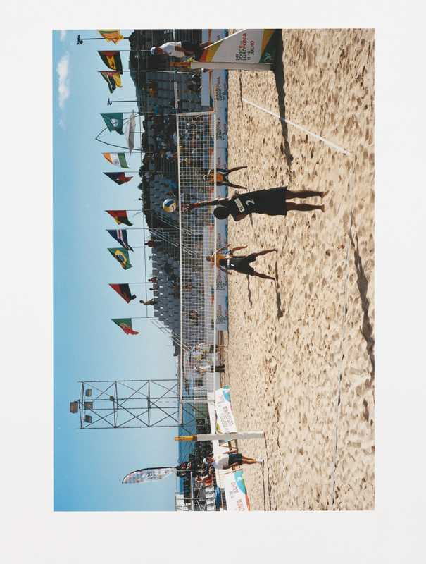 Beach volley ball match in progress
