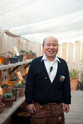 Hiroyuki Yamaguchi tends to succulents on the seventh floor