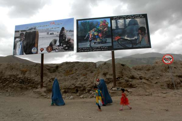 Government anti-terrorism billboards in Faizabad, northern Afghanistan