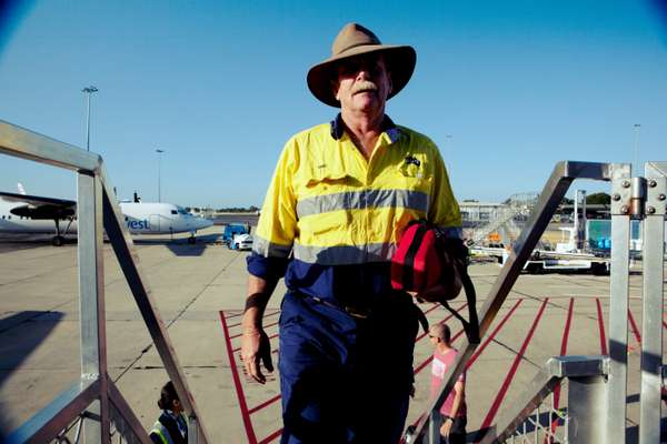 A FIFO boards his flight