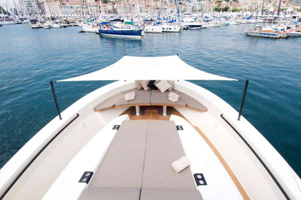 Bow of Bluegame 60' at Cannes
