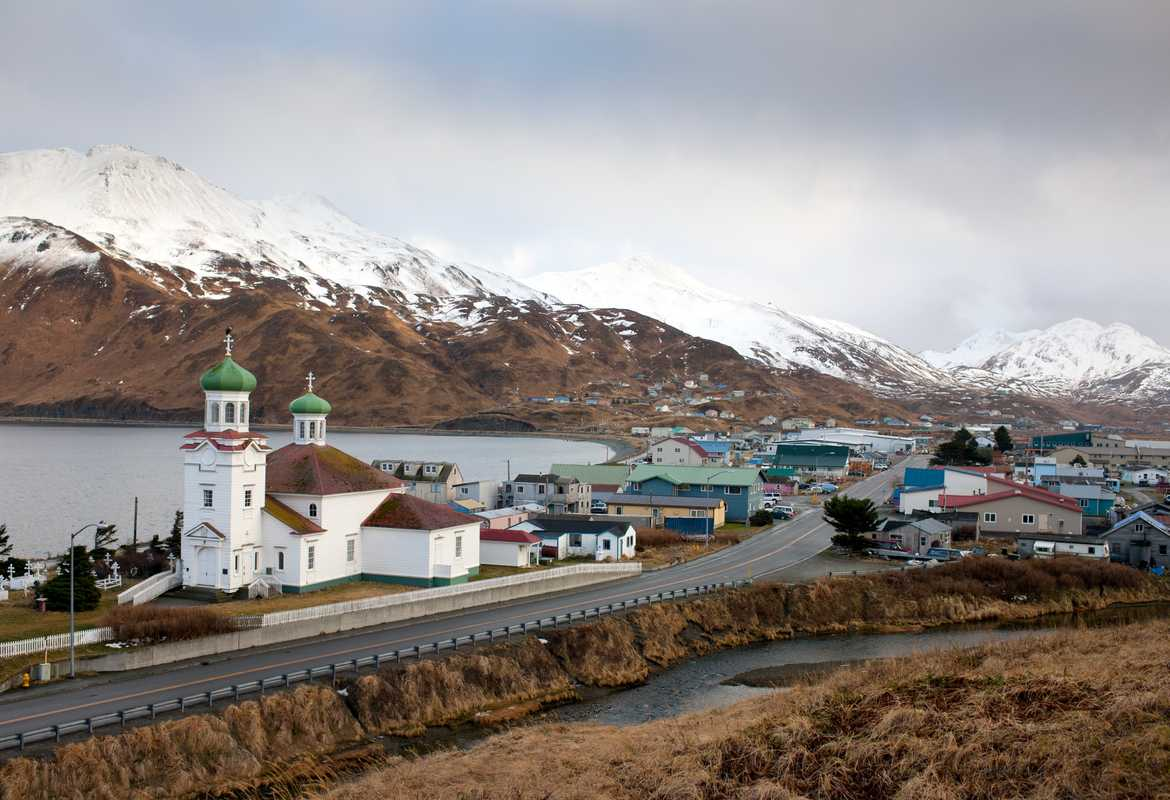 Hilltop view of Unalaska and the US's oldest Russian Orthodox church