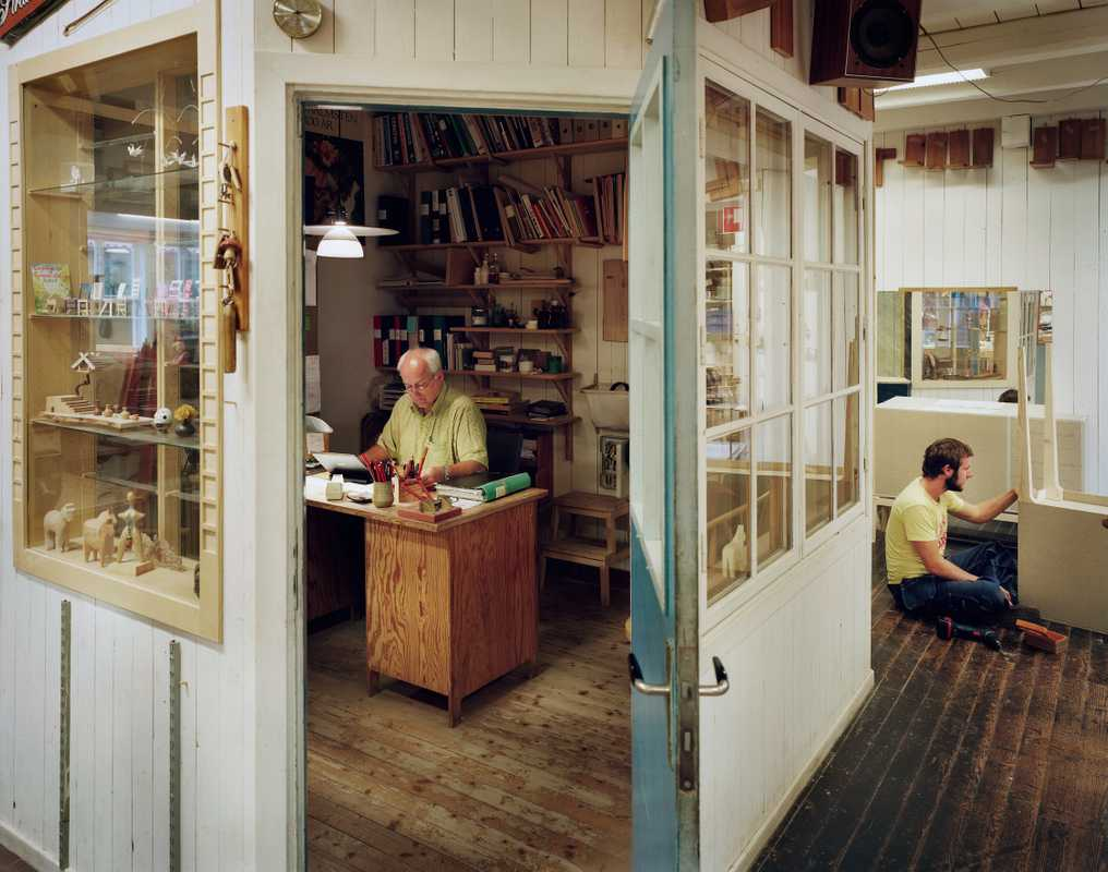 Inside the woodworking shop