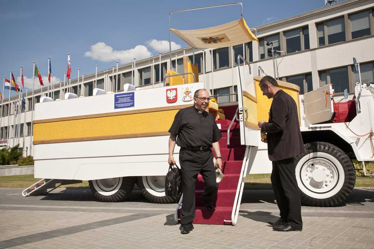 Replica of Pope John Paul II's 'Popemobile'