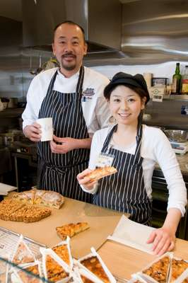 Skip Egg chief pastry chef Koji Seki and employee