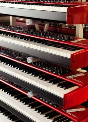 Nord Stage Ex keyboards stacked in the Stockholm factory