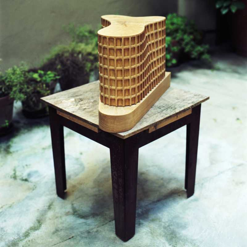 Wooden model of De Lucchi-designed office building