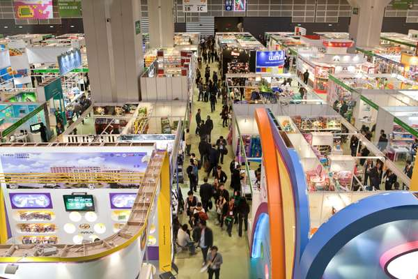 Visitors peruse stands