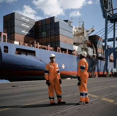 Employees at DP World Sokhna container terminal and port