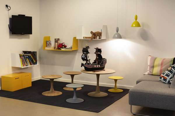 Children's corner in the reception area with furniture and accessories by Danish firm Muuto