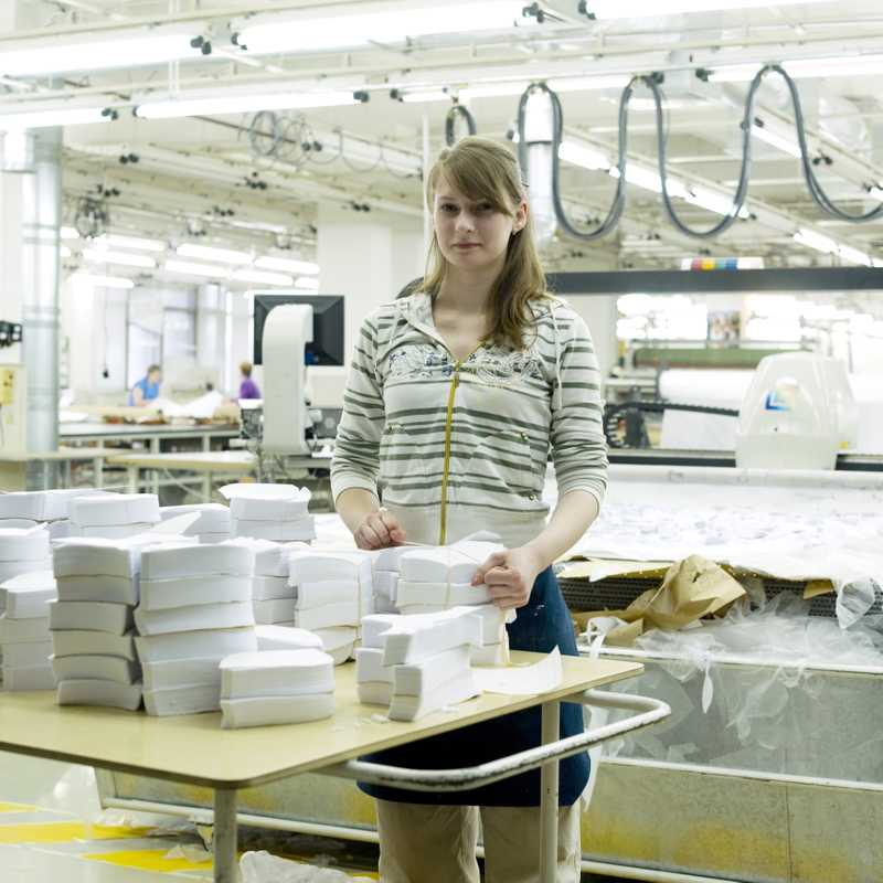 An employee at Milavitsa underwear factory