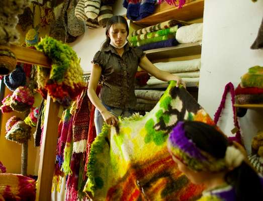 Alieth Ortiz in her knitware shop