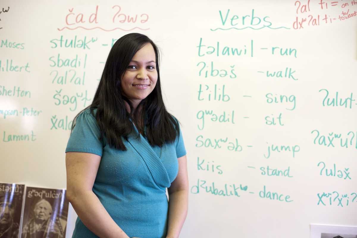 Natosha Gobin, teacher of the native language, Lushootseed, at Tulalip Elementary School