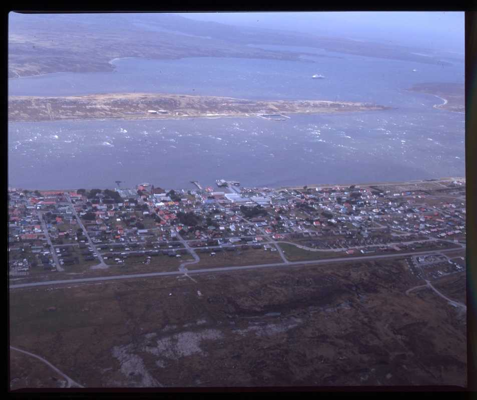 Stanley seen from a flight on FIGAS, the islands' air taxi