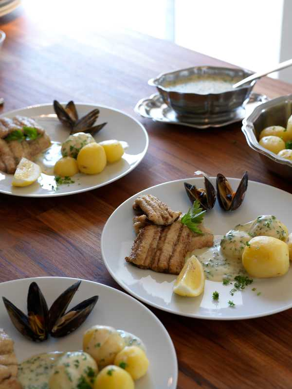 Jensen's meal of garfish and potatoes
