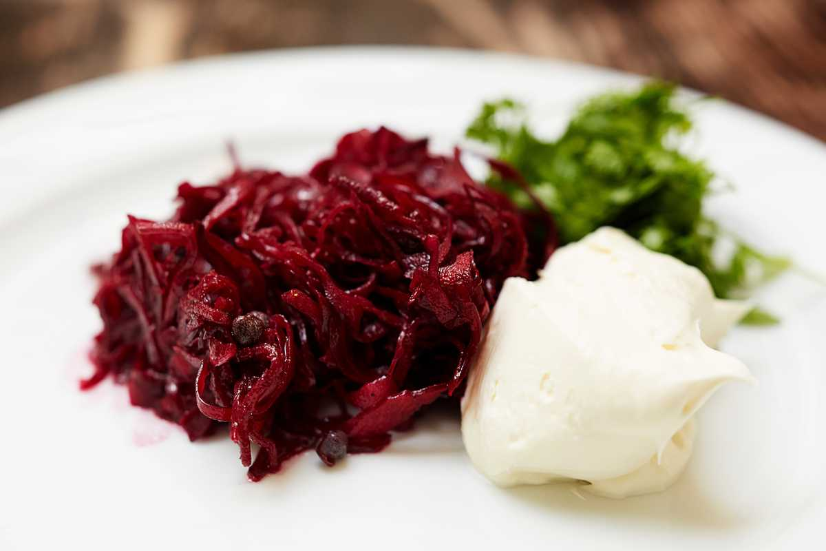 Beetroot, red cabbage and crème fraîche