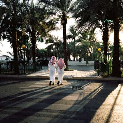Locals take a stroll near Aqaba's waterfront
