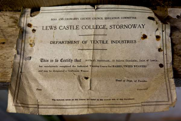 A weaver's faded 1967 certificate belonging to Murdo Macdonald