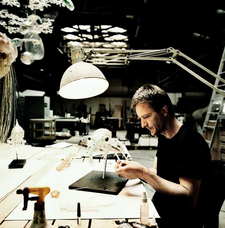 Esben Horn works on a model of a 'carcinus maenas megalopa' (crab larvae)