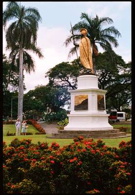 A statue of King Kamehameha, who united Hawaii's islands