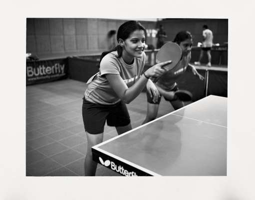 Indian table-tennis players warm up
