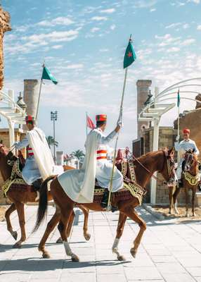 Changing of the guard at the mausoleum of Mohammad V in Rabat