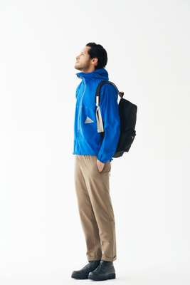 Jacket by, trousers by Descente Pause, boots  by Spectusshoeco from Gallery 0f Authentic, backpack by Porter