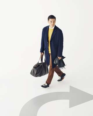 Coat, shirt, jumper, trousers, trainers, scarf and bag by Ermenegildo Zegna