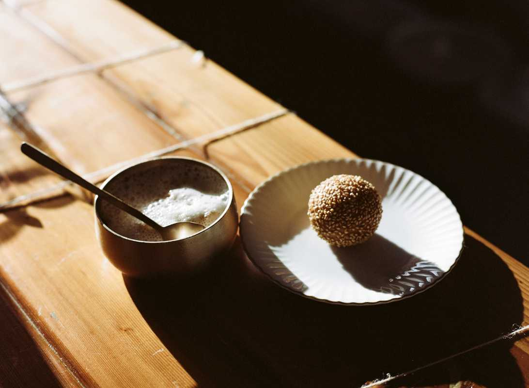 Sesame ball with shaved Vietnamese iced coffee