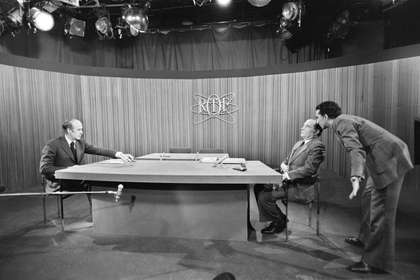 Giscard d'Estaing (left) and Mitterrand on the RTF, 1974