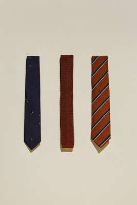 Ties (from left to right) by Mackintosh  Philosophy Neckwear, by Margaret Howell, by  Nicky from United Arrows