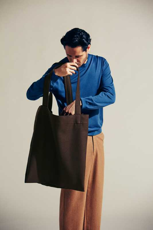 Jumper by Auralee, trousers by MisterGentleman  from The Contemporary Fix, bag by Aton