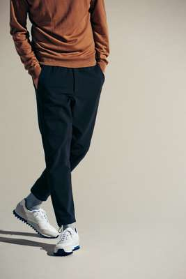 Jumper by John Smedley, trousers by The North Face,  socks by Uniqlo, trainers by ZDA
