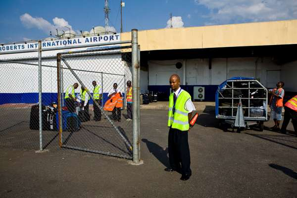 Baggage handlers at Roberts airport