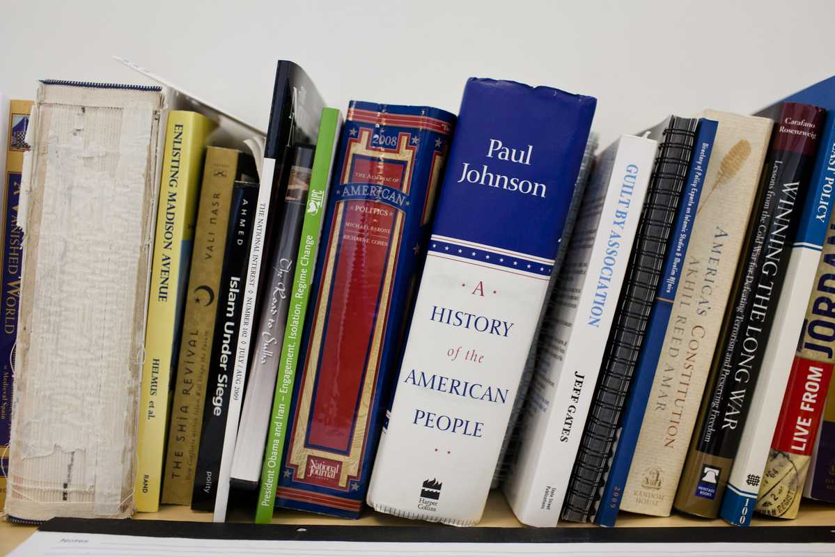A small library with books on US politics